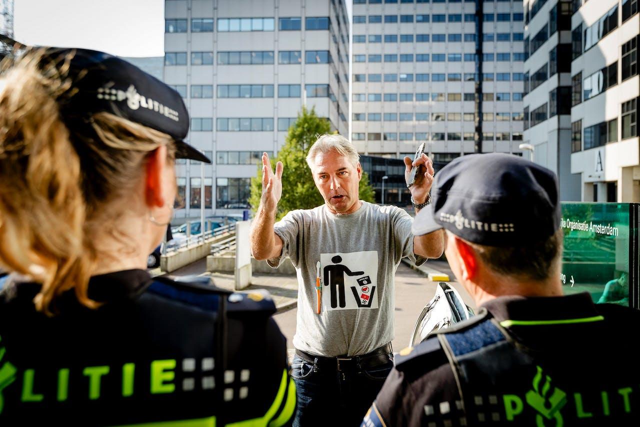 Pegidavoorman Edwin Wagensveld bij een eerdere arrestatie. Foto ANP