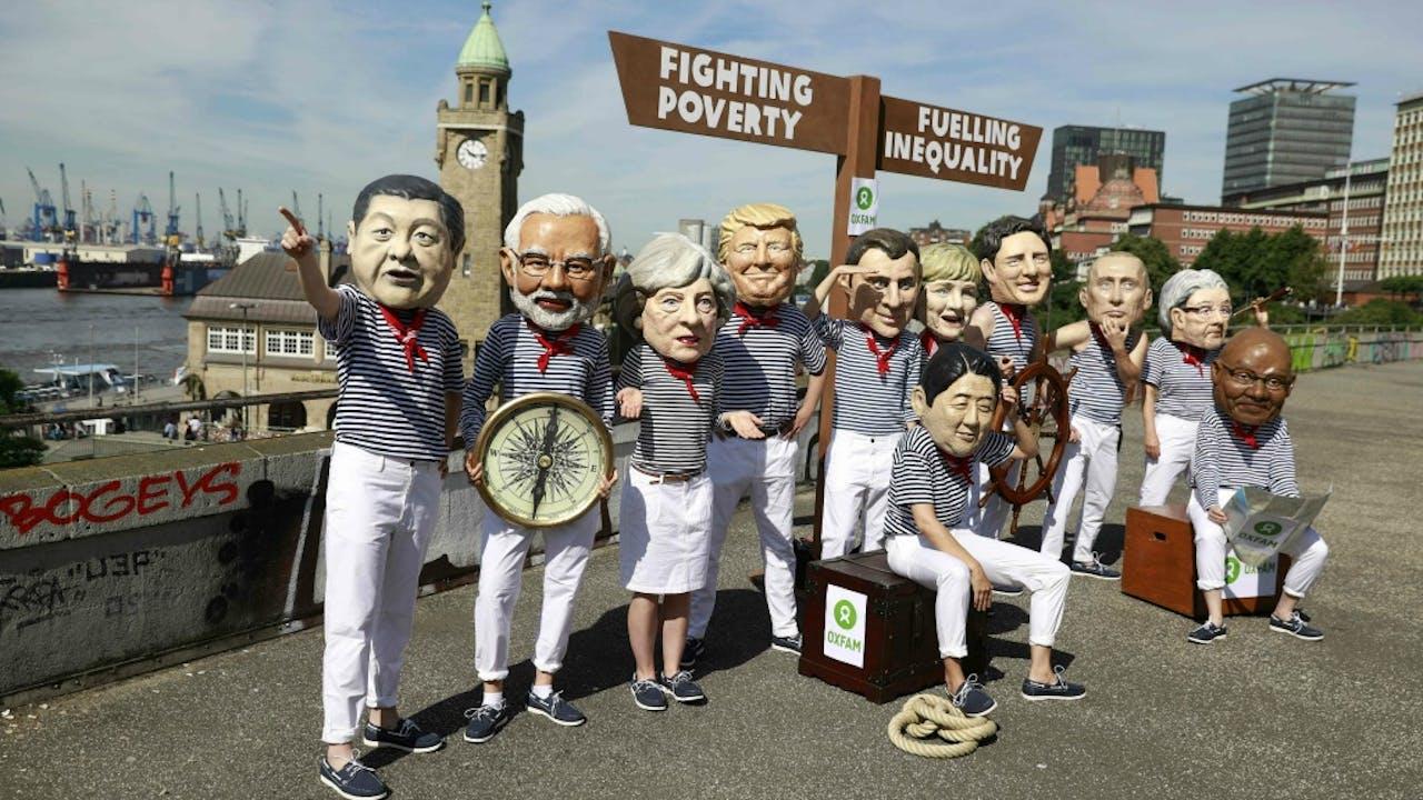 Actievoerders protesteren in Hamburg tegen de aanstaande G20-top. Foto ANP