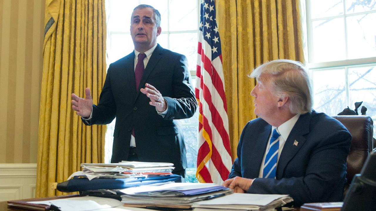 CEO Brian Krzanich (Intel) en President Donald Trump. Foto: ANP