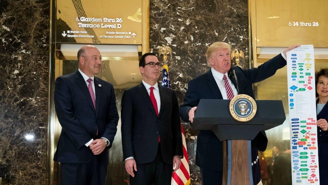 Gary Cohn, Steve Mnuchin en Donald Trump. Foto: AFP