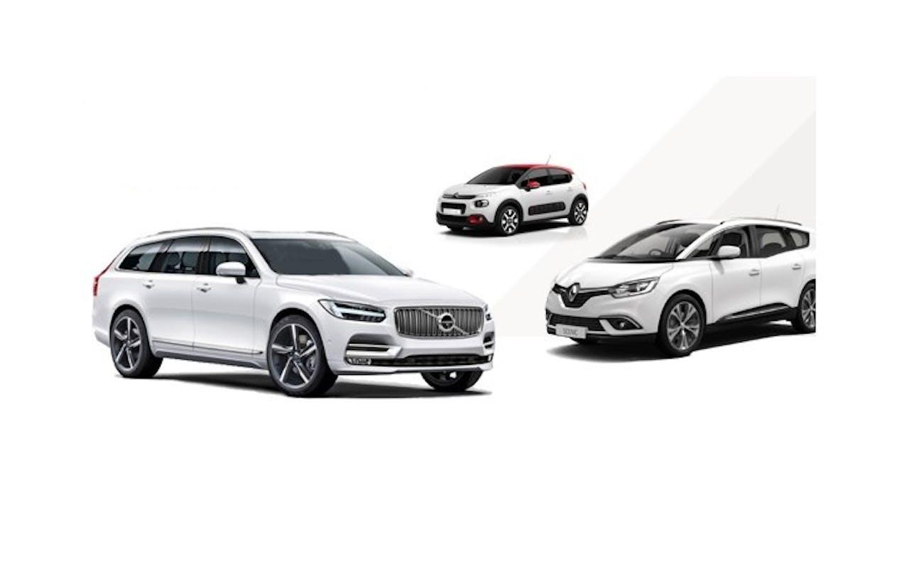 Van links naar rechts: Volvo V90, Citroën C3 en de Renault Grand Scénic