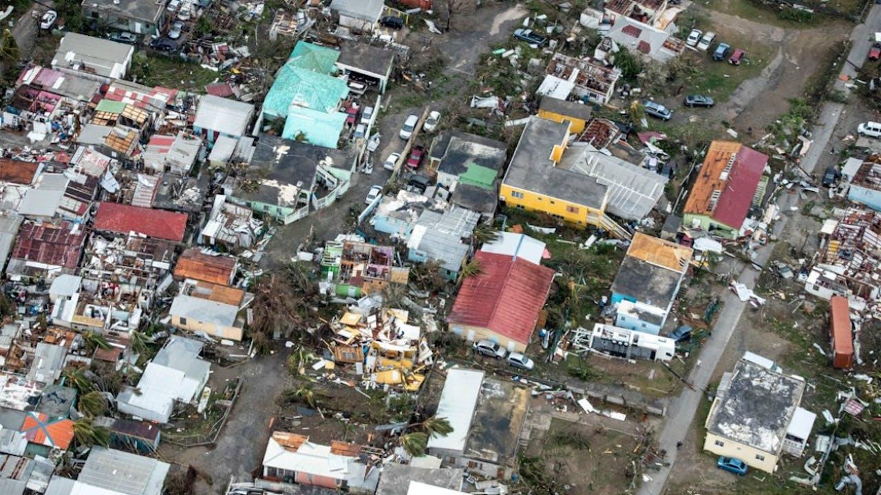 Schade op Sint Maarten. Foto Ministerie van Defensie