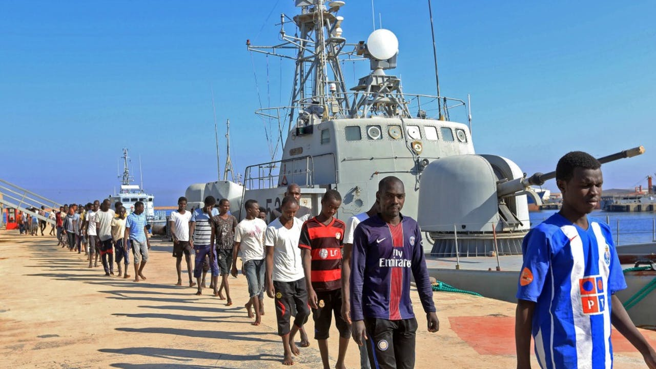 Migranten komen aan in Tripoli, Libië. Foto ANP