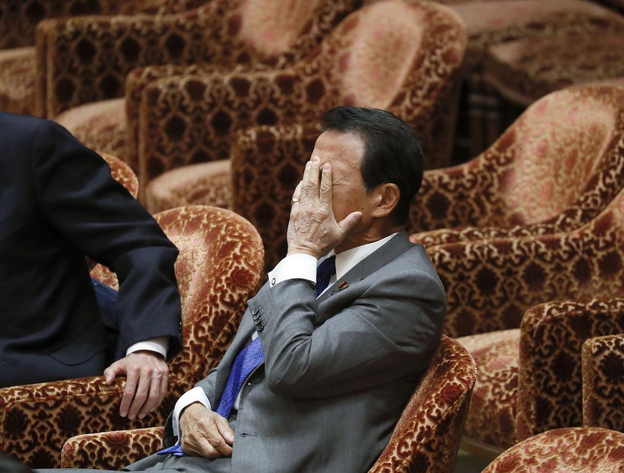 De Japanse minister van Financien Taro Aso, eerder dit jaar.