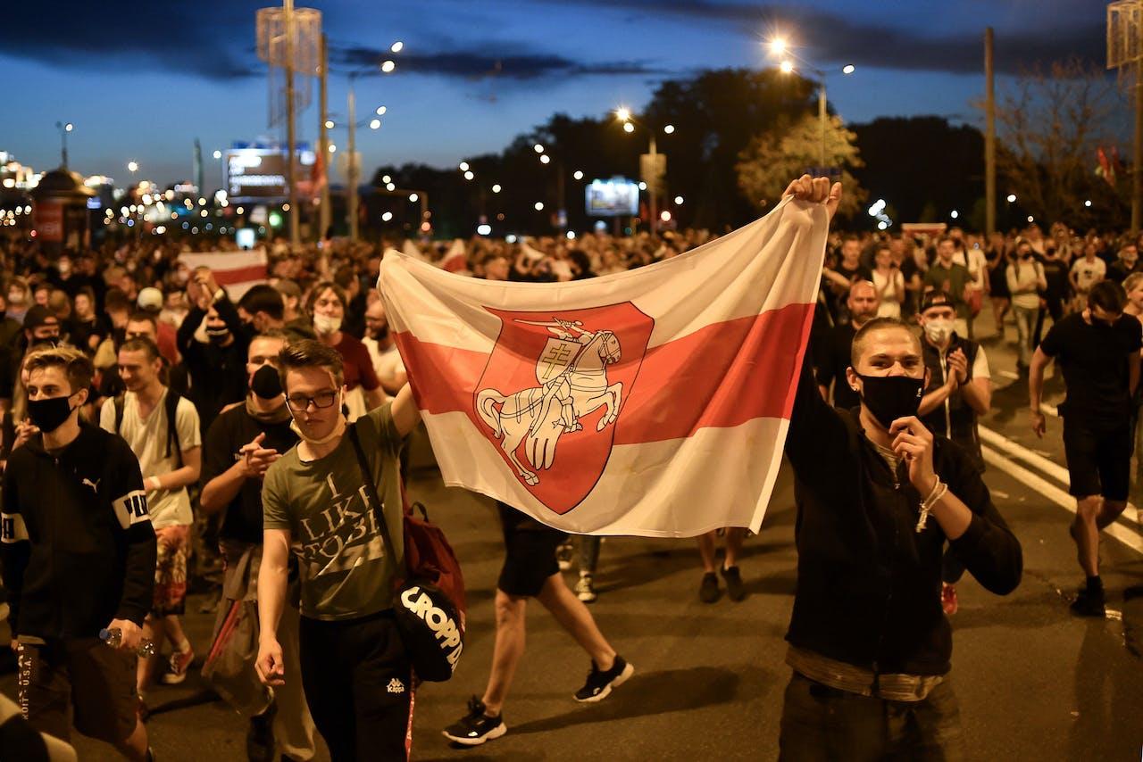 Demonstranten in Minsk, de hoofdstad van Wit-Rusland.