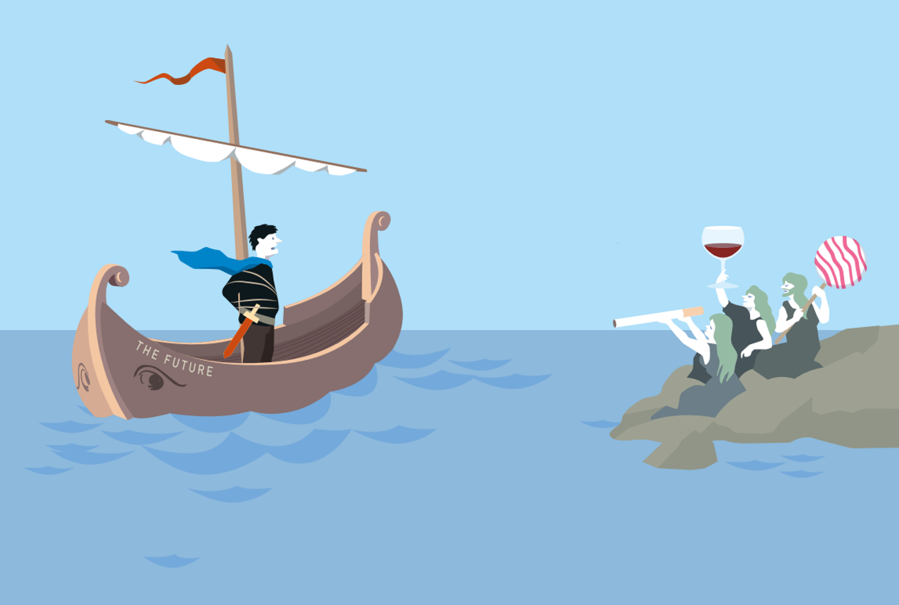 Kiezen tussen de plannen voor de toekomst en de begeerte van nu. Volgens de mythe liet Odysseus zich aan de mast van zijn schip vastbinden, om zich niet gek te laten maken door de Sirenen. Illustratie uit de perspresentatie van de Nobelprijs voor de economie.