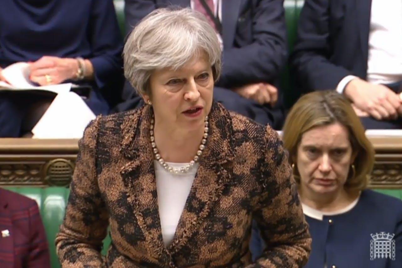 Theresa May tijdens de verklaring