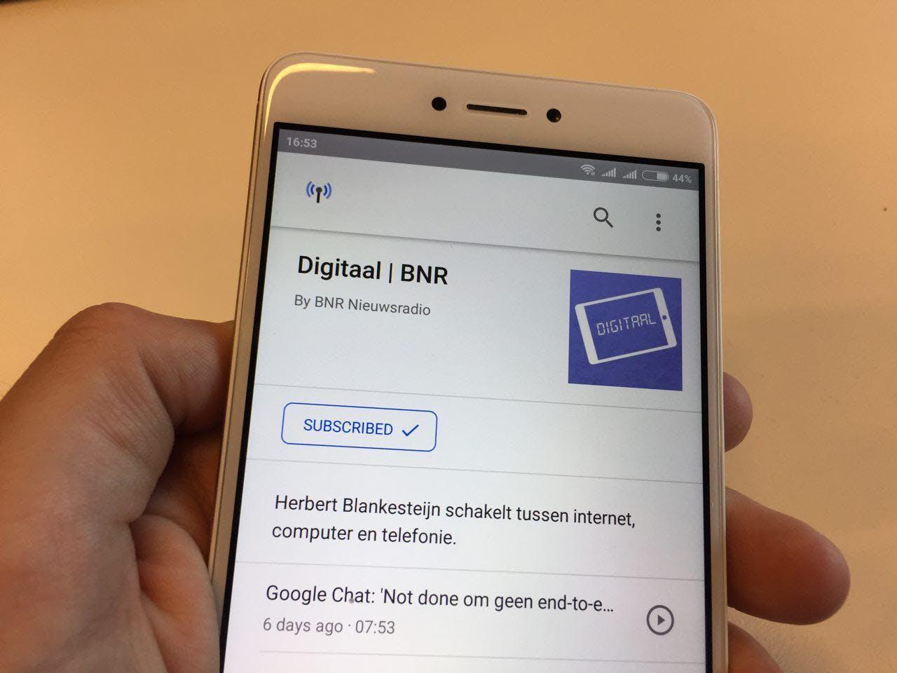 De podcast van BNR Digitaal in de podcasts-webapp van Android