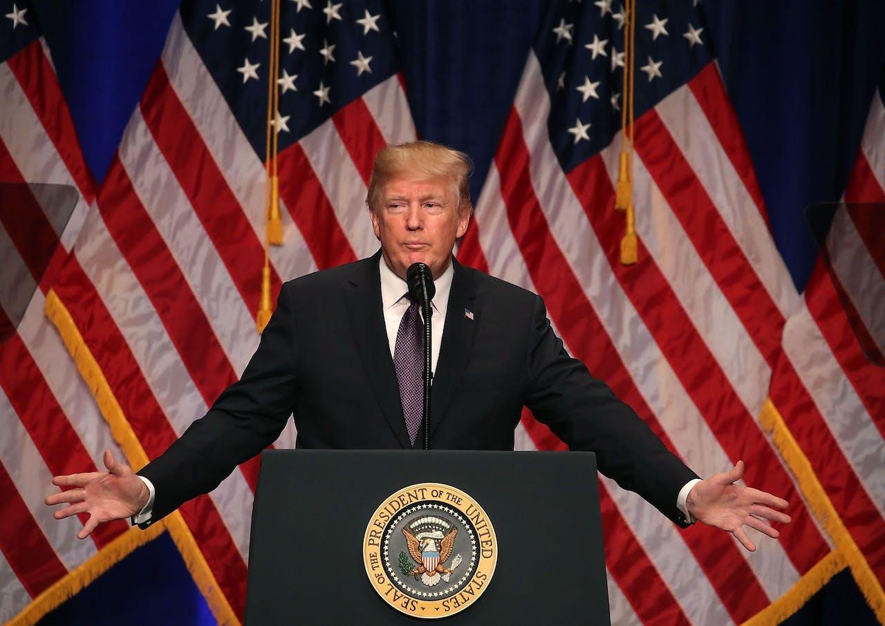 Trump tijdens zijn speech over de nieuwe nationale veiligheidsstrategie.