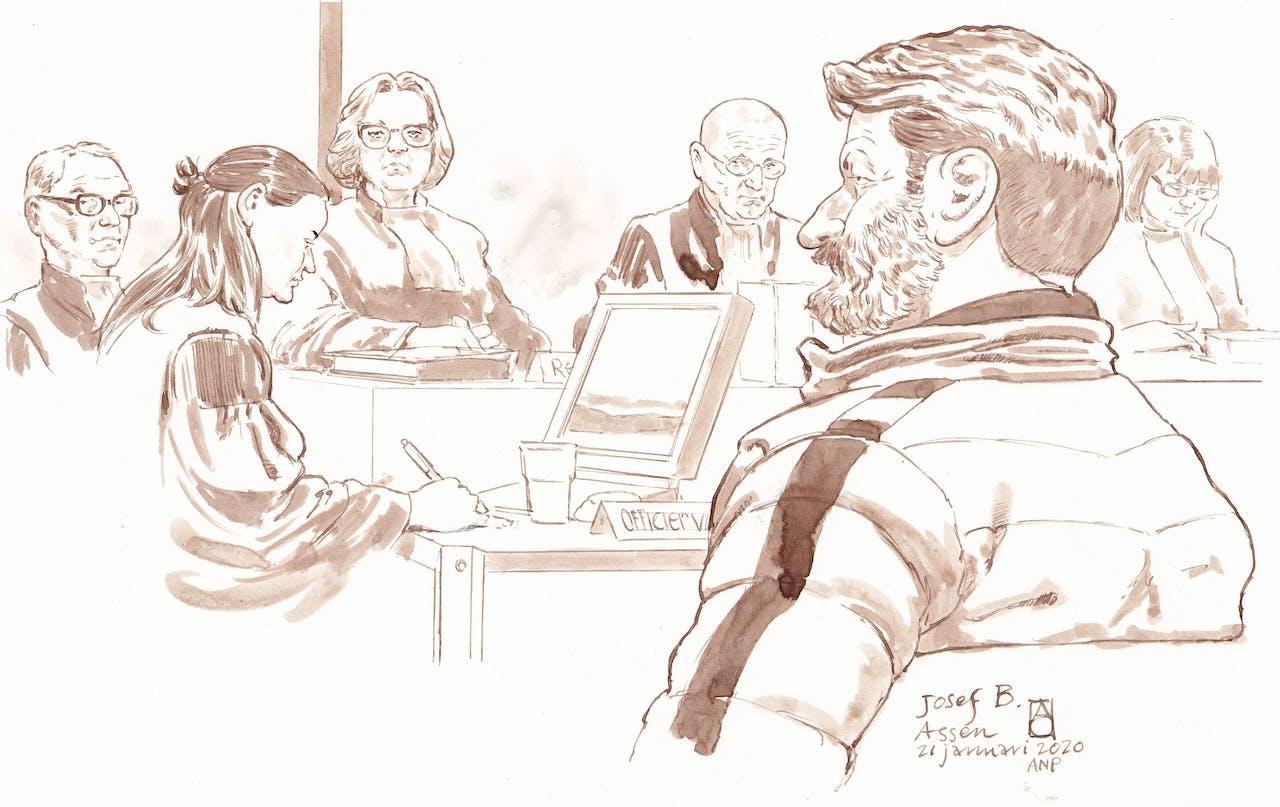 Rechtbanktekening van de Oostenrijkse huurder en klusjesman Josef B. tijdens de eerste pro-formazitting in de strafzaak Ruinerwold tegen hem en hoofdverdachte Gerrit Jan van D.