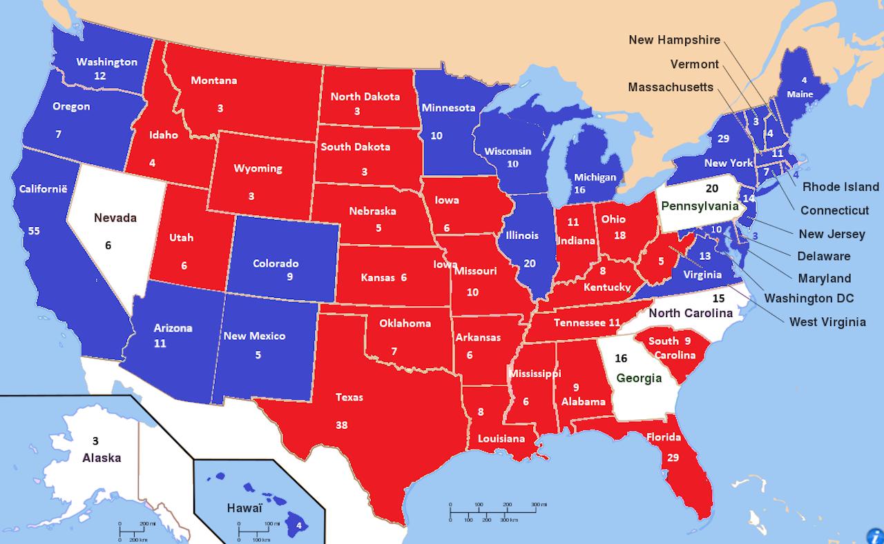 De kaart met de verdeling van de staten. Arizona is controversieel: AP heeft de staat 'gecalled', oa CNN nog niet.