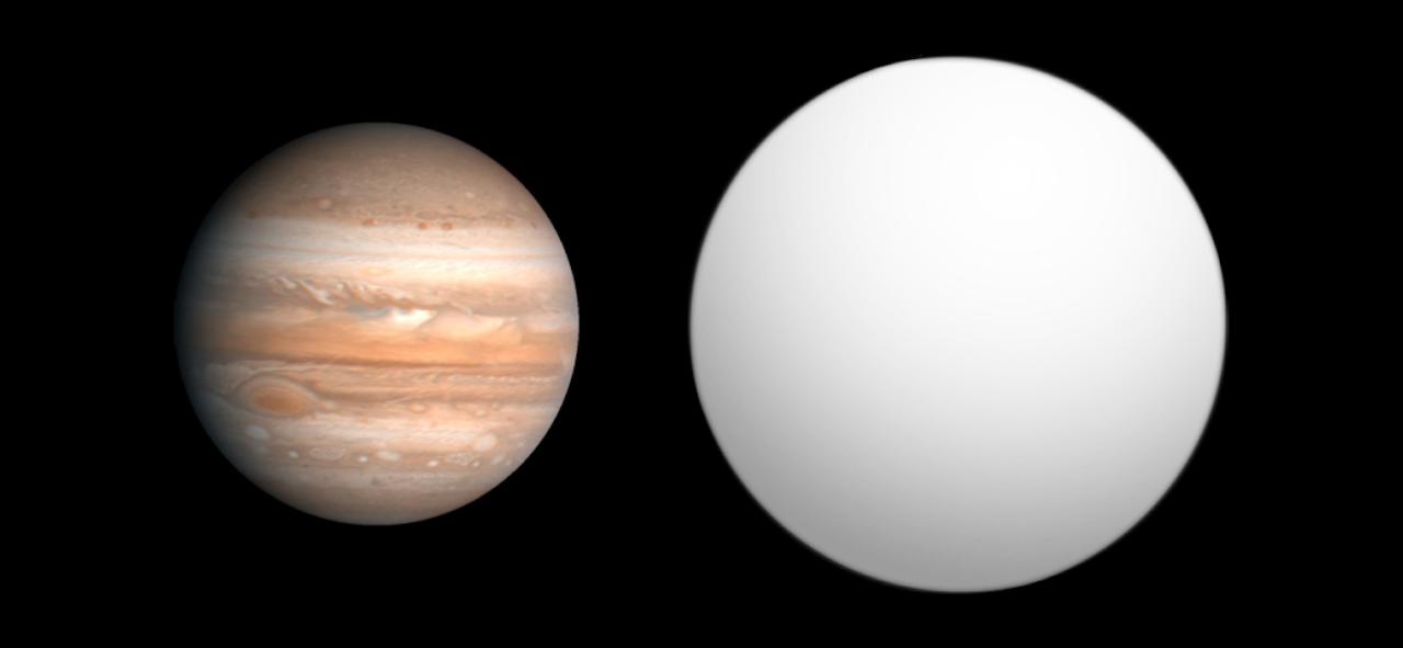Planeet HAT-P-6 b (rechts) in vergelijking met de grootte van Jupiter (links)