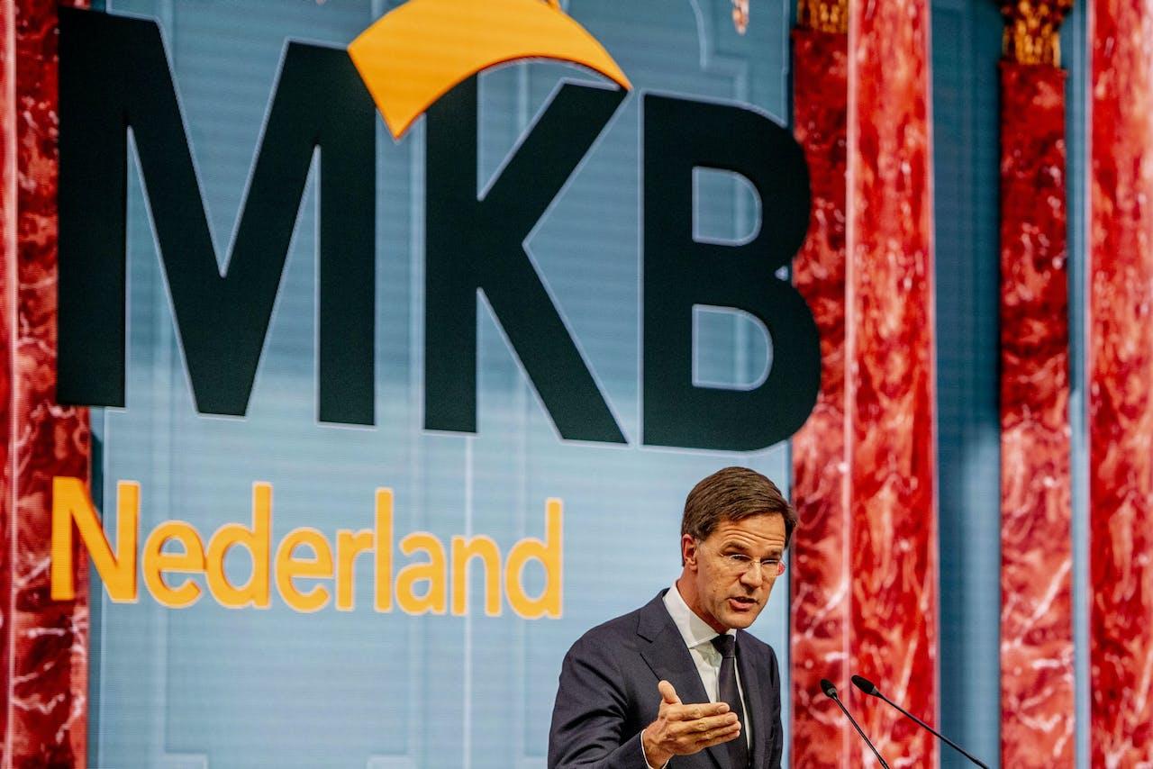 Premkier Mark Rutte tijdens een toespraak voor MKB-Nederland