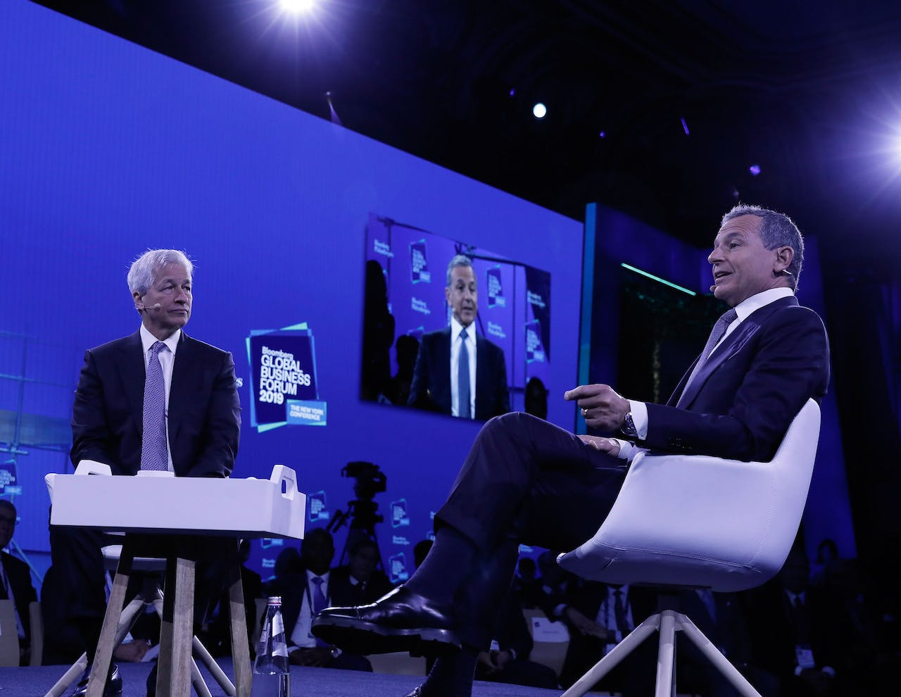2019-09-25 20:43:05 epa07869534 Robert Iger, chairman and chief executive officer of The Walt Disney Company (R) and Jamie Dimon, Chairman and CEO of JPMorgan Chase speak at the Bloomberg Global Business Forum 2019 at the Plaza Hotel in New York, New York, USA, 25 September 2019. World leaders gathered for the United Nations General Debate this week, and business leaders are gathering for the event, which was organized by Bloomberg Philanthropies, to discuss economic and trade issues, globalization, innovation, and competition. EPA/PETER FOLEY