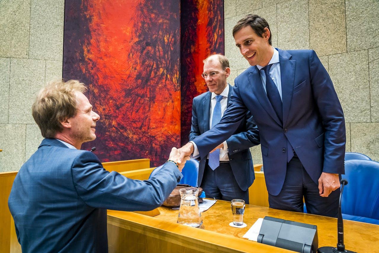 Minister Wopke Hoekstra en staatssecretaris Menno Snel in de Tweede Kamer op de eerste dag van de Algemene Financiele beschouwingen.