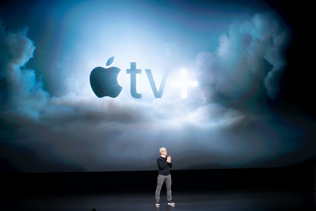 2019-03-25 19:04:23 Apple CEO Tim Cook speaks during an event launching Apple tv+ at Apple headquarters on March 25, 2019, in Cupertino, California. NOAH BERGER / AFP