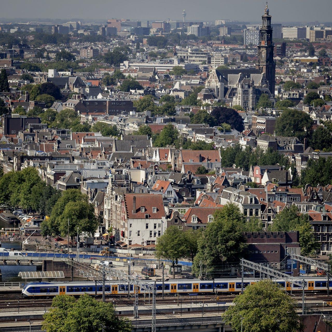 Overzicht van het centrum van de stad Amsterdam