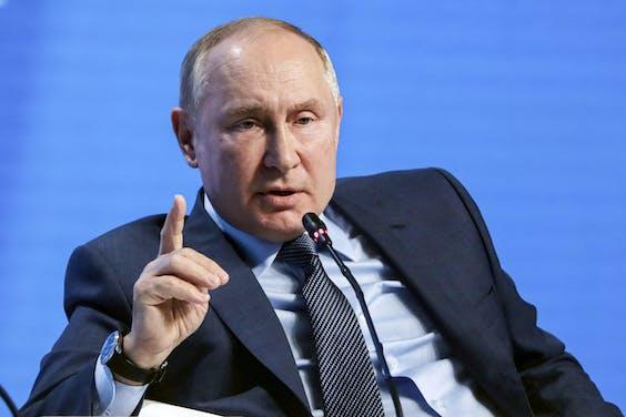 President Poetin op de energieconferentie in Moskou