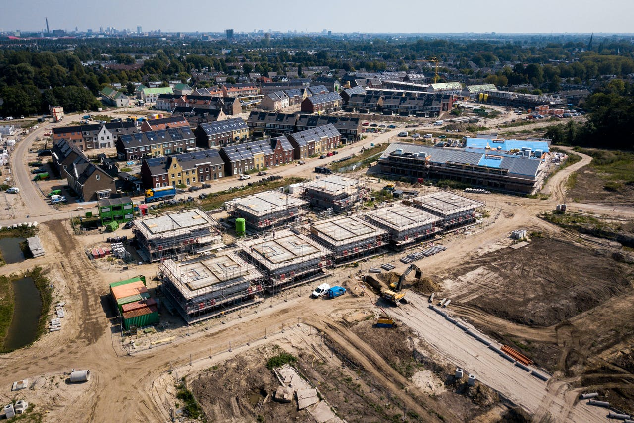 Een woonwijk in aanbouw in Vleuten.