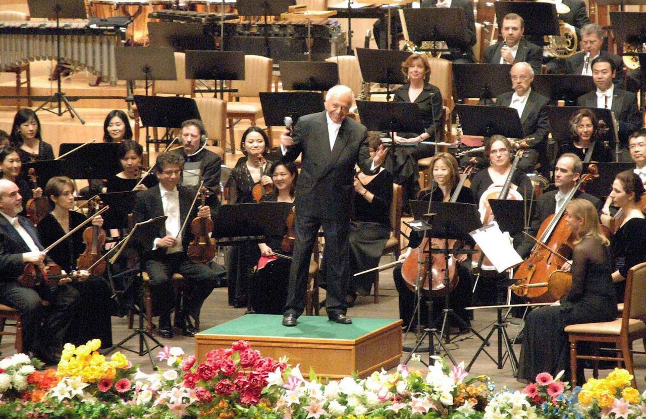 Het New York Philarmonic in Pyongyang in februari 2008. Het orkest speelde er onder meer werk van Dvorak.