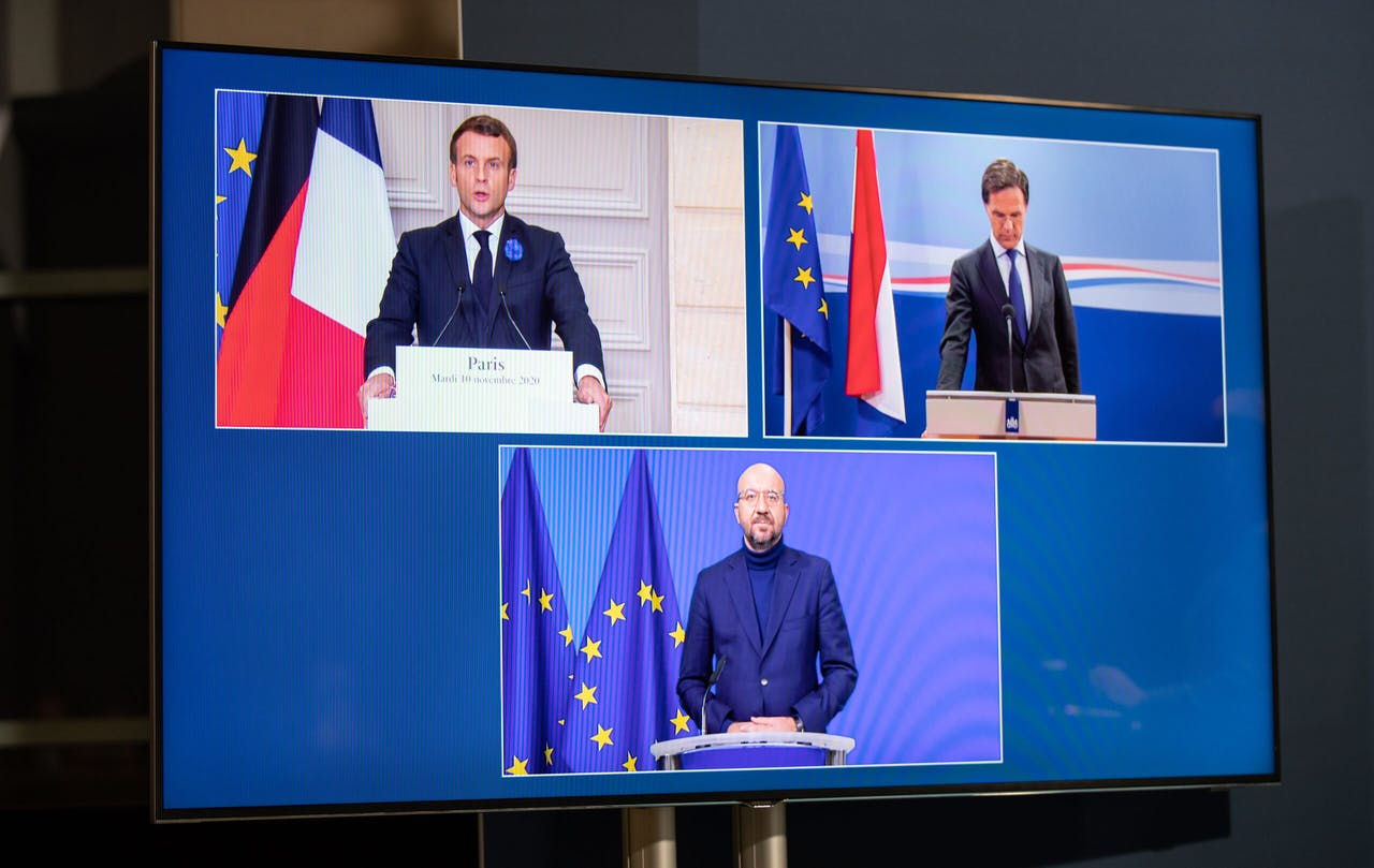 Macron, Rutte en Michel