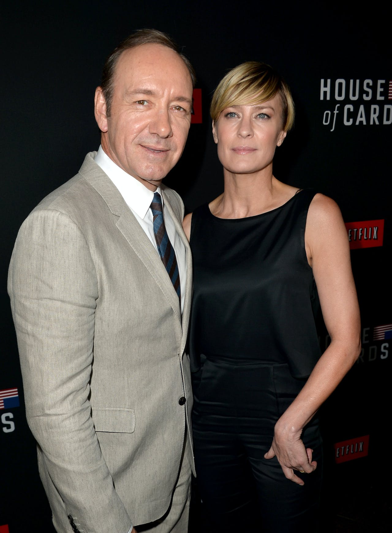 Acteurs Kevin Spacey en Robin Wright, die spelen in de meest bekende serie House of Cards