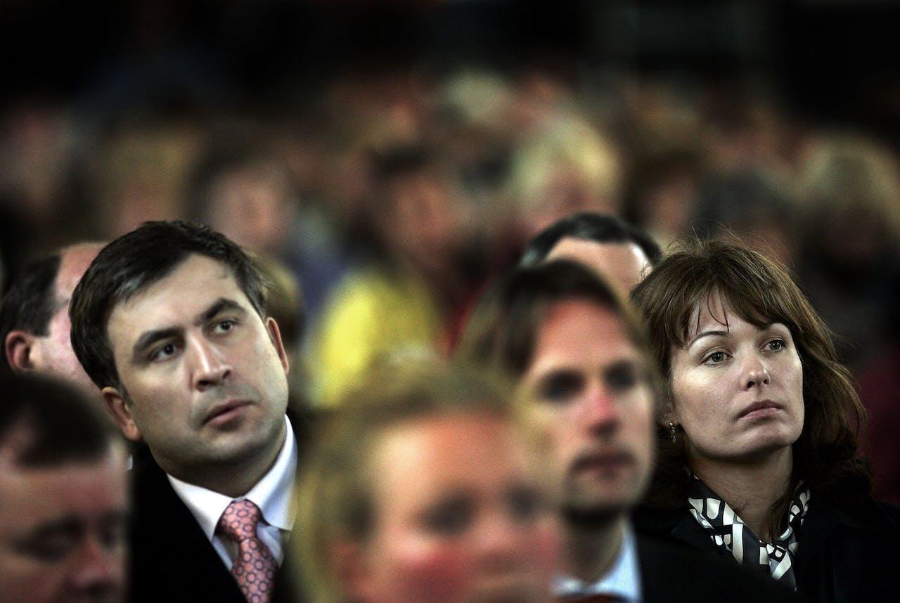 Michail Saakasjvili (links) met zijn Nederlandse vrouw Sandra Roelofs.