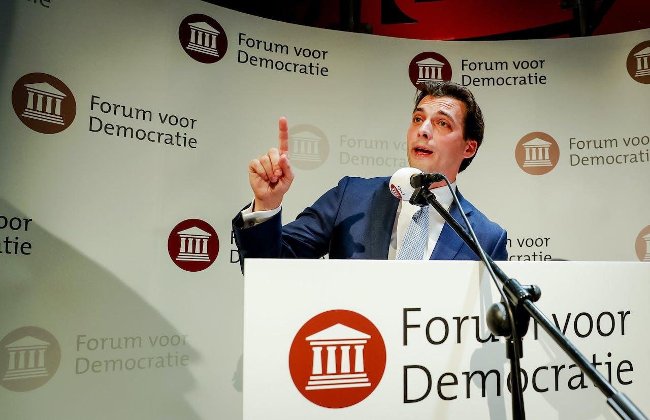2019-03-21 01:11:08 ZEIST - Lijsttrekker Thierry Baudet van Forum voor Democratie (FvD) tijdens de uitslagenavond van de Provinciale Statenverkiezingen en de waterschapsverkiezingen. ANP BART MAAT