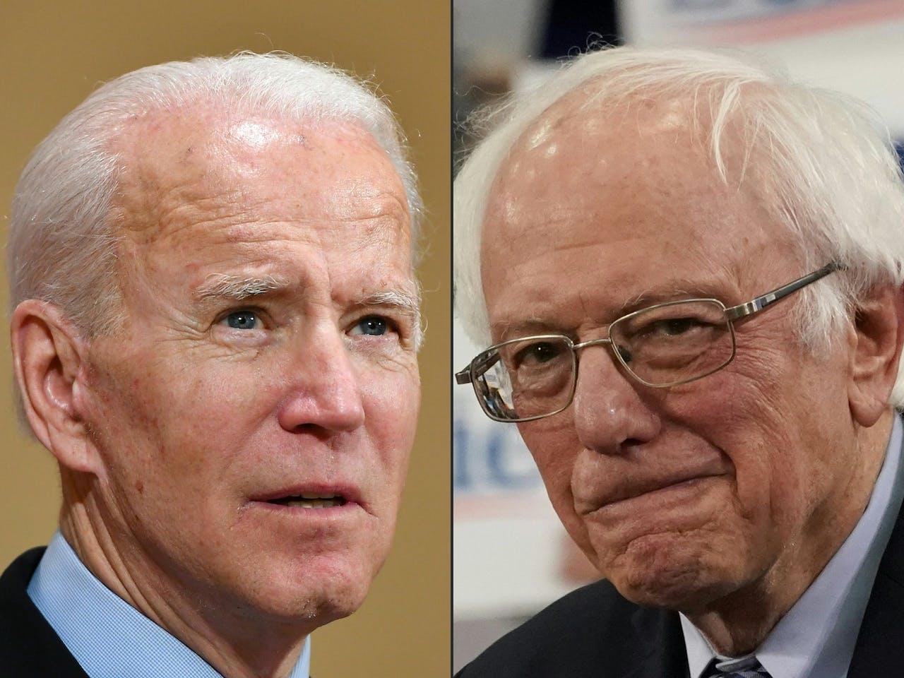 Bernie Sanders (rechts) legt het af tegen Joe Biden