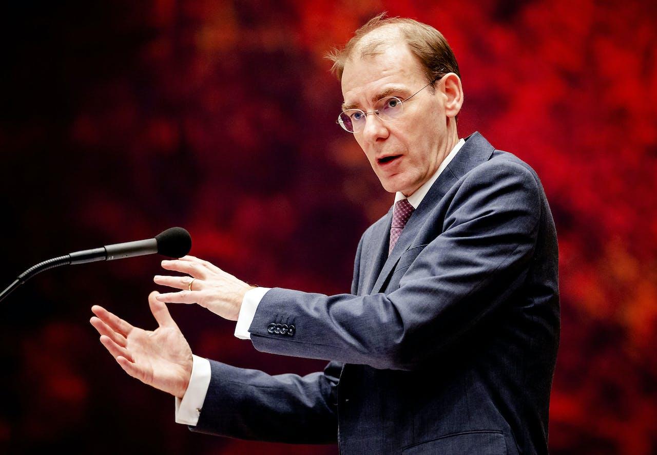 De inmiddels afgetreden staatssecretaris Menno Snel van Financiën tijdens het debat in de Tweede Kamer over het optreden van de Belastingdienst in de affaire rond kinderopvangtoeslagen
