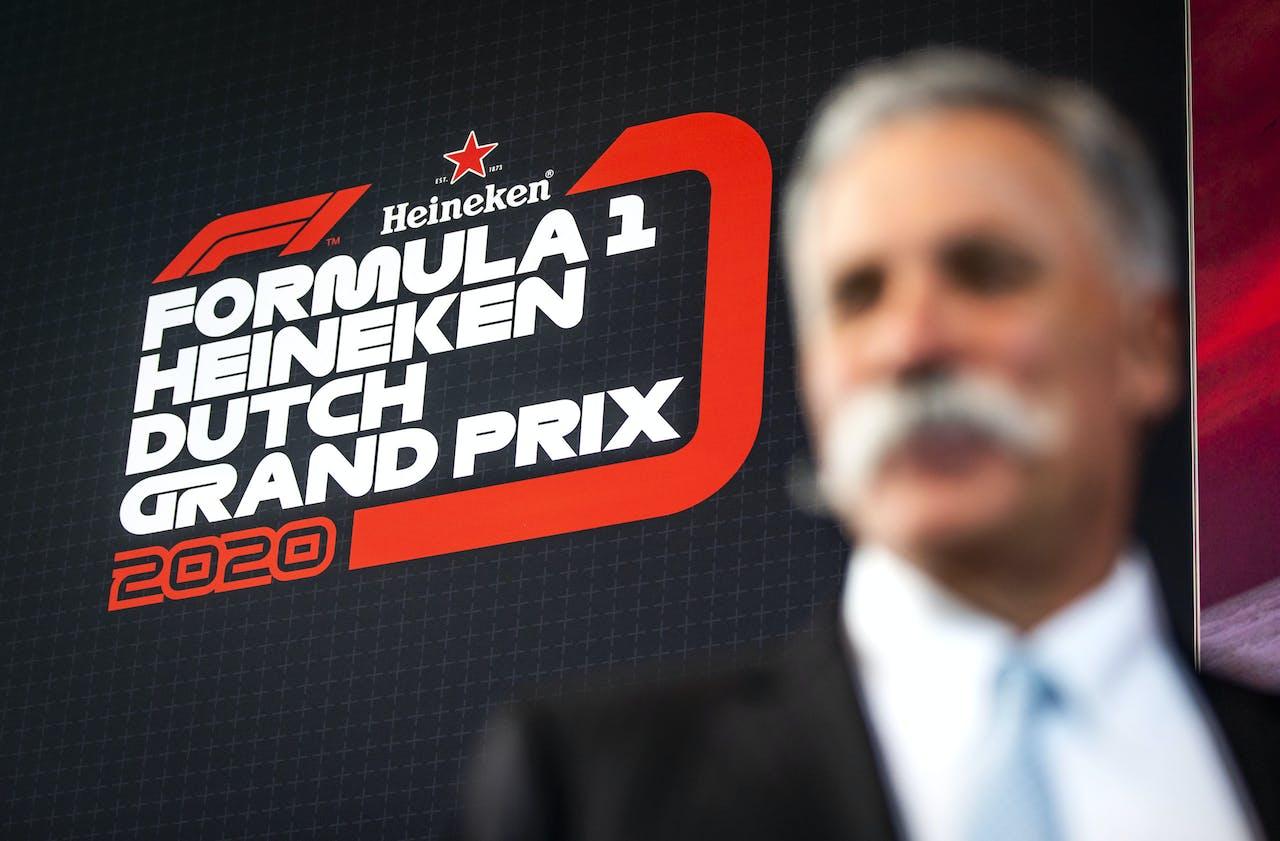 2019-05-14 10:44:25 ZANDVOORT - Chase Carey van de Formula One Group, tijdens de persconferentie voorafgaand aan de ondertekening van de overeenkomst van de Grand Prix op racecircuit Zandvoort. ANP REMKO DE WAAL