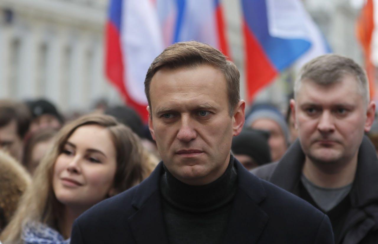 Oppositieleider Alexei Navalny tijdens een protestmars in februari van dit jaar