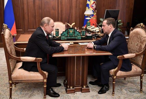 Vladimir Poetin en Dmitri Medvedev