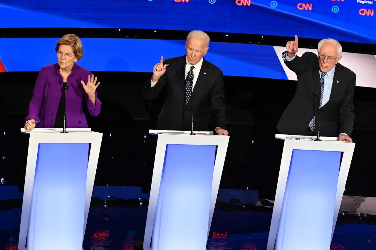 Elizabeth Warren, Joe Biden en Bernie Sanders