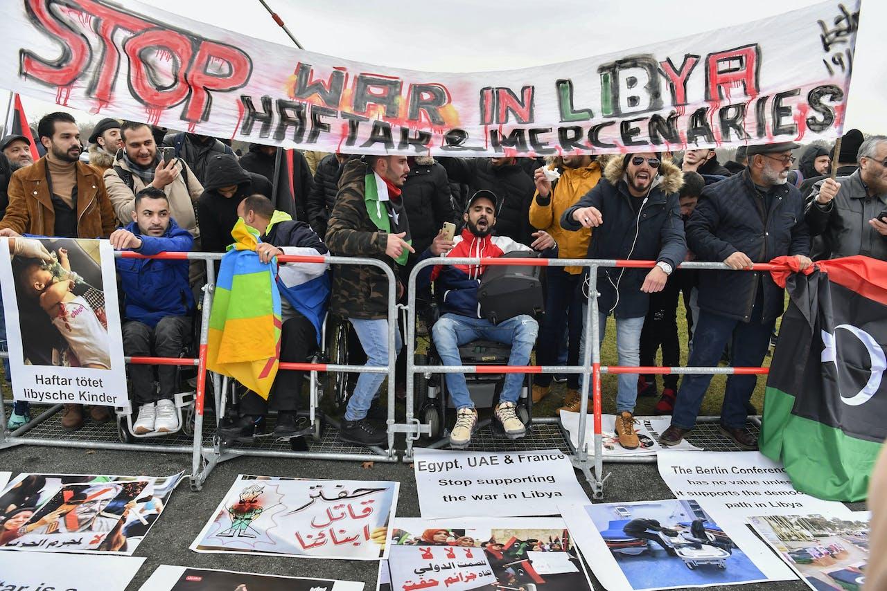 Een protest tegen de oorlog in Libië, en meer specifiek tegen de troepen van Haftar. De protesten vonden plaats rondom de conferentie in Berlijn, waar wereldleiders een akkoord bereikten dat de oorlog op zou moeten lossen.