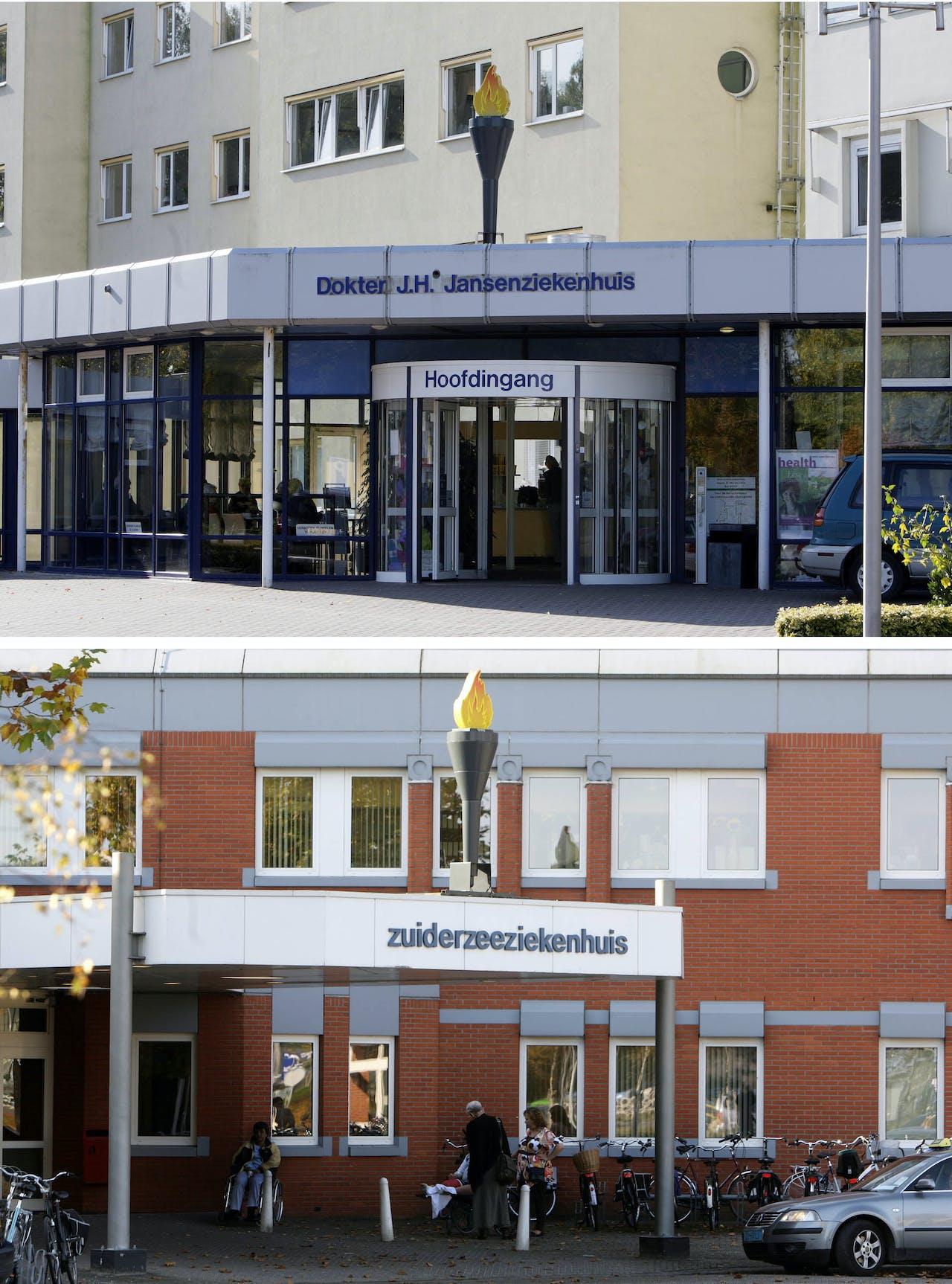 De noodlijdende IJsselmeerziekenhuizen in Lelystad (onder) en Emmeloord (boven). ANP PHOTO VINCENT JANNINK