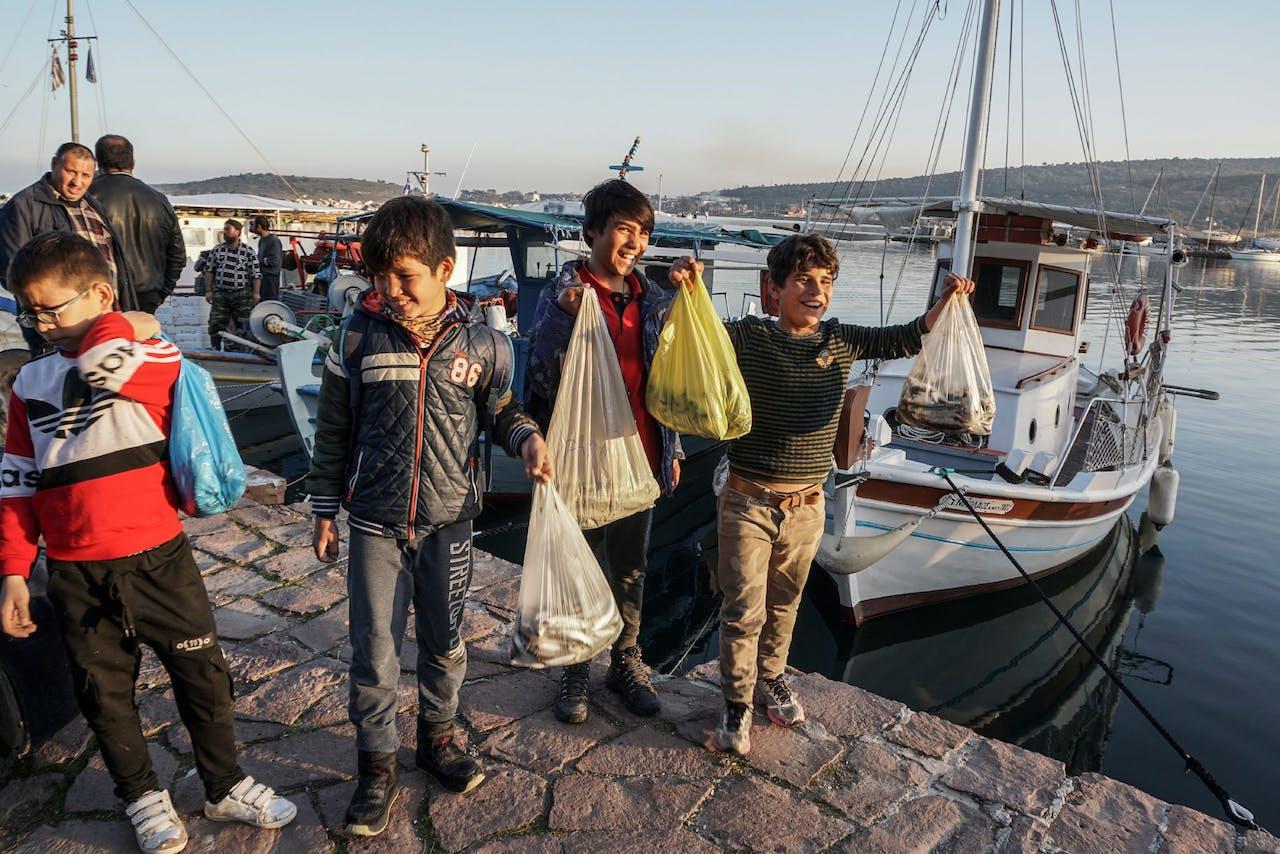 Vluchtelingen op Lesbos in januari 2019.