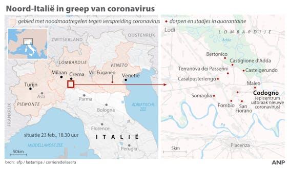 Noord-Italie in greep van coronavirus. Overzicht steden en dorpen in quarantaine. ANP