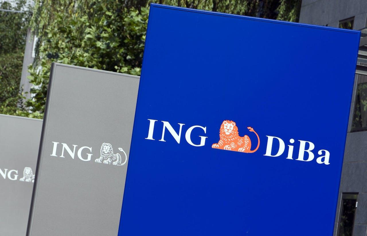 Logo van de ING DiBa vestiging in Frankfurt.