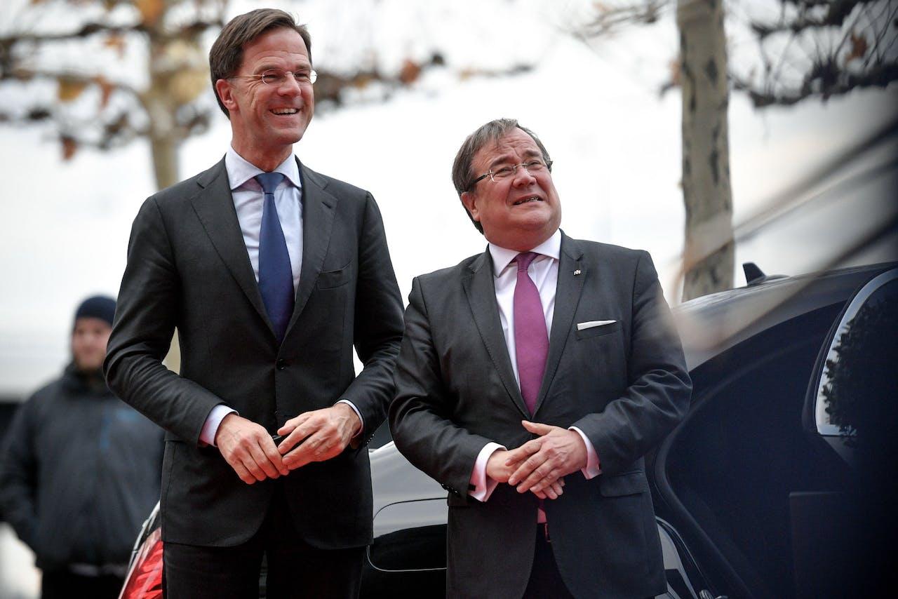 Minister-president Rutte met zijn Noordrijn-Westfaalse collega Armin Laschet.