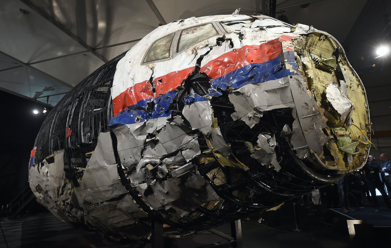 De verwoeste cockpit van de vlucht MH17 van Malaysia Airlines.