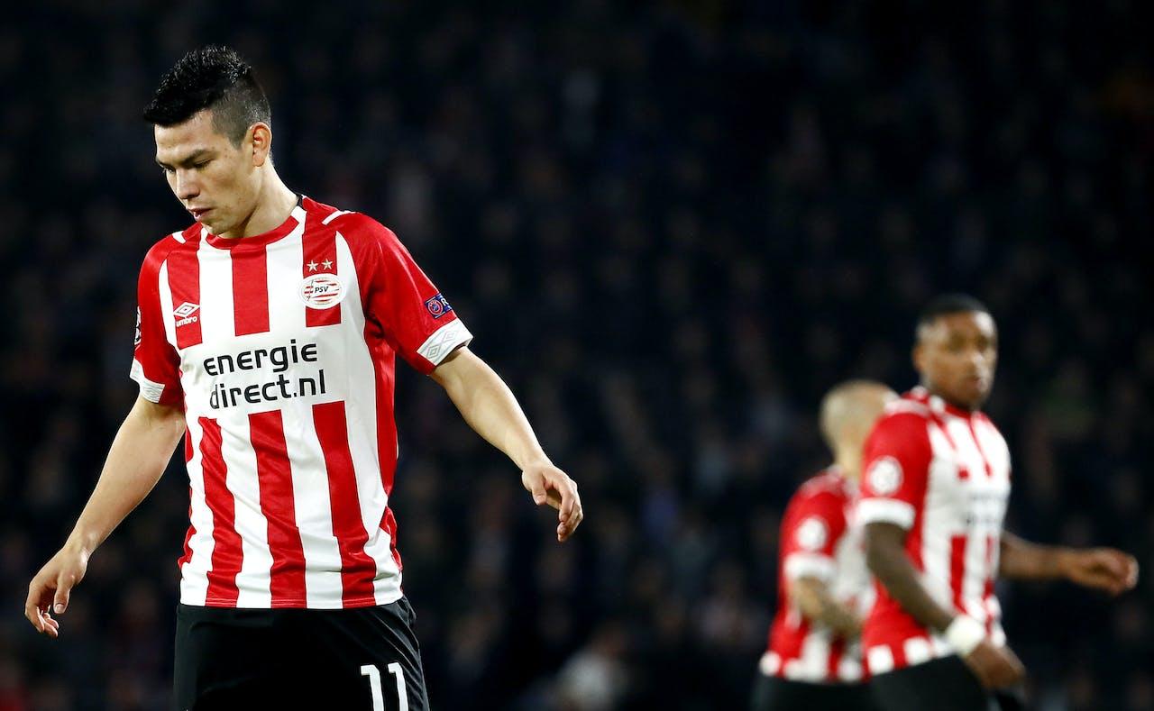 Hirving Lozano van PSV tijdens het duel tegen FC Barcelona. PSV speelt tegen FC Barcelona in de groepsfase van de Champions League. ANP ROBIN VAN LONKHUIJSEN