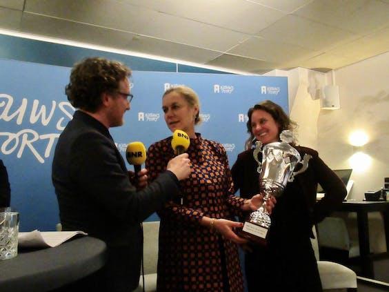 Van links naar rechts: Laurens Boven, Sigrid Kaag en Sophie van Leeuwen.