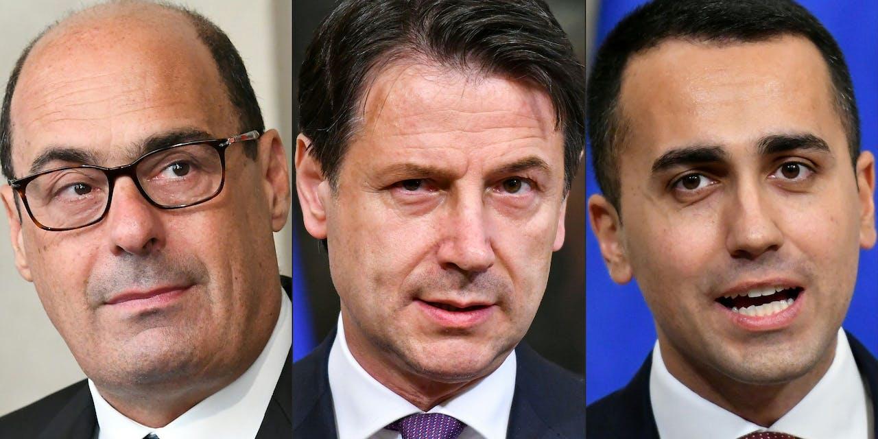 Nicola Zingaretti (L: Partito Democratico - PD), Giuseppe Conte (C: Italiaans premier), Luigi Di Maio (R: vicepremier van Italië en minister van Economische Ontwikkeling, Werkgelegenheid en Sociale Zaken)