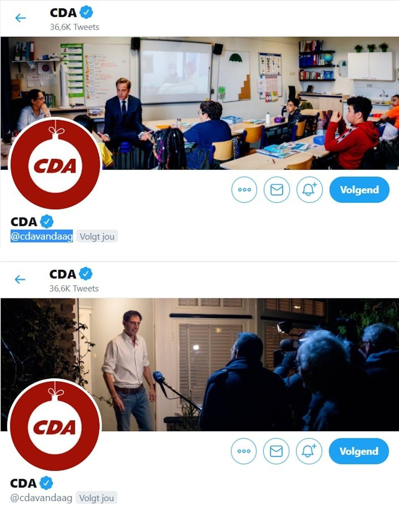 Het Twitteraccount van het CDA was in een mum van tijd aangepast aan de nieuwe tijd...
