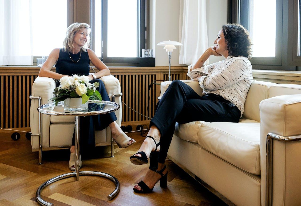 2018-07-05 17:07:35 Foto gemaakt op 5 juli 2018. DEN HAAG - Minister Kajsa Ollongren (Binnenlandse Zaken) ontvangt Femke Halsema voor een kennismakingsgesprek. De voormalig Groen Links-leider wordt de eerste vrouwelijke burgemeester van Amsterdam. ANP ROBIN VAN LONKHUIJSEN