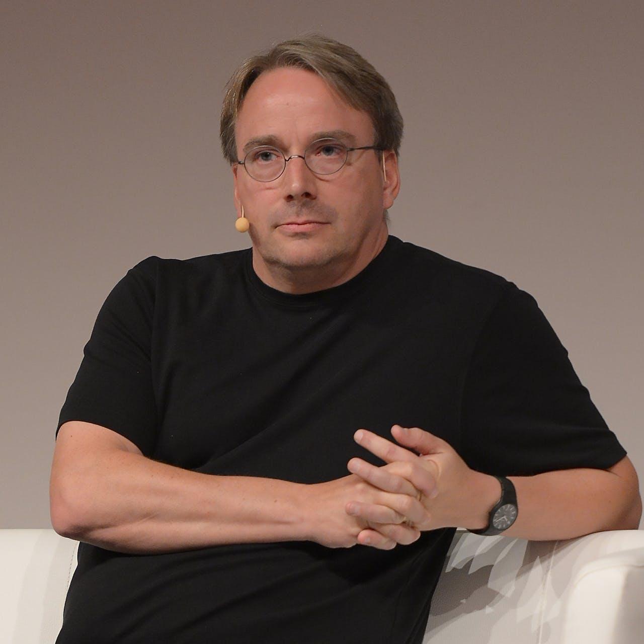 Linus Torvalds op LinuxCon Europe 2014 in Düsseldorf