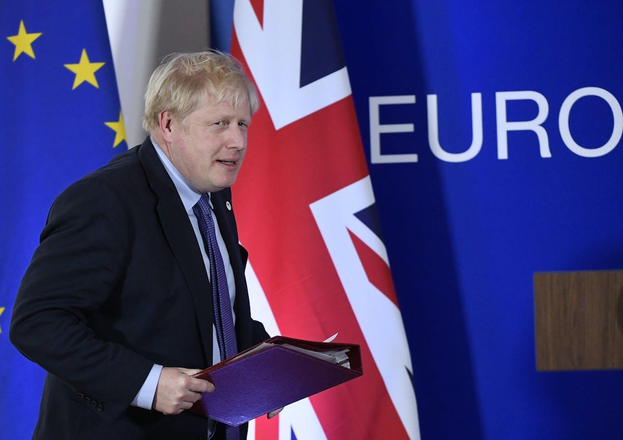 Boris Johnson bij de presentatie van de Brexitdeal in Brussel, afgelopen donderdag.