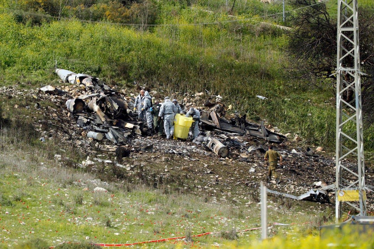 De overblijfselen van de neergeschoten Israëlische F-16