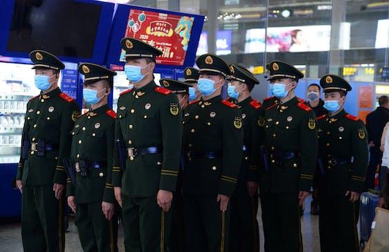 Politie-agenten in Shanghai